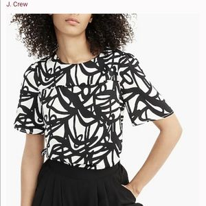 J. Crew 365 Black & White Poly Satin Print Blouse